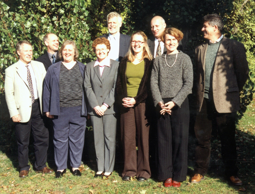 Members of the MTG working group at the kick off meeting in Burgdorf, Hannover, October 2003. Left to right:Caj Kortman (GTK, Finland), Joachim Gersemann (BGR, Germany), Sharon Tahirkheli (AGI, USA), Maija Pennanen (GTK, Finland), Jan Jellema (TNO-NITG, Netherlands), Rachel Heaven (BGS, United Kingdom), Tomasz Mardal (PGI, Poland), Marielle Arregros-Rouvreau (BRGM, France), Marco Amanti (APAT, Italy)